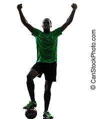 プレーヤー, シルエット, 祝う, 人, サッカー, アフリカ, 勝利