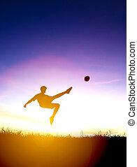 プレーヤー, シルエット, 背景, 日没, ボール, サッカー, 蹴り
