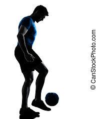 プレーヤー, ジャッグルする, 人, サッカーフットボール