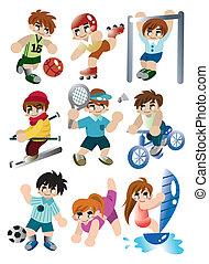 プレーヤー, スポーツ, セット, 漫画, アイコン