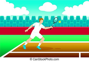 プレーヤー, テニス, カラフルである, テンプレート