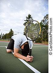 プレーヤー, テニス, 悲しい, 後で, 敗北