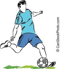 プレーヤー, フットボールボール, ベクトル, サッカー, イラスト