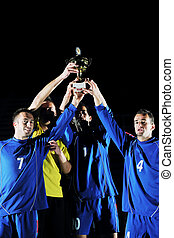 プレーヤー, フットボール, 勝利, 祝う