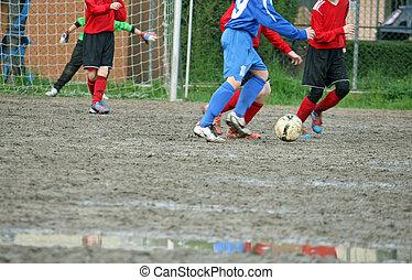 プレーヤー, フットボール, 子供, マッチ, の間