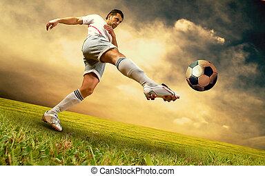 プレーヤー, フットボール, 空フィールド, olimpic, 幸福, 競技場, 日の出