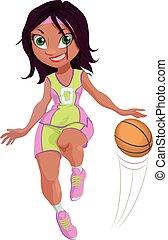 プレーヤー, 女の子, バスケットボール, 漫画