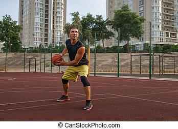 プレーヤー, 屋外, バスケットボール, 準備する, 作りなさい, シュート