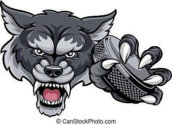 プレーヤー, 狼, ホッケー, マスコット, 動物のスポーツ, 氷