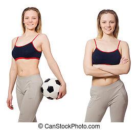 プレーヤー, 白, 女, フットボール