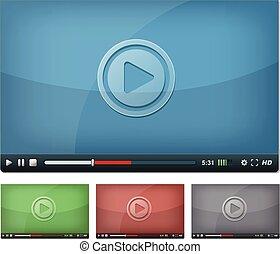 プレーヤー, 網, ビデオ, タブレットの pc