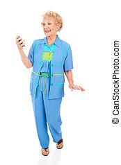 プレーヤー, 聞く, mp3, 年長の 女性