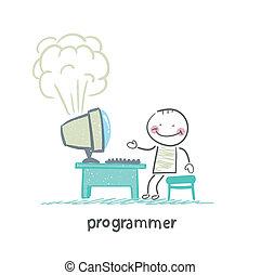 プログラマー, コンピュータ, 立つ, 爆発する, 次に
