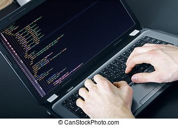 プログラマー, 職業, -, 執筆, プログラミング, コード, 上に, ラップトップ