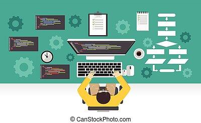 プログラマー, concept., メカニズム, 仕事, development., プログラミング, computer...