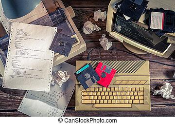 プログラミング, 上に, 古い, コンピュータ, 中に, ∥, 実験室