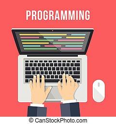 プログラミング, concept., コーディング, 人