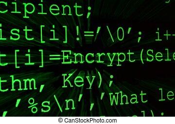 プログラム, コード, 上に, a, モニター