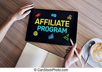 プログラム, マーケティング, 広告, 概念, affiliate, ビジネス, screen.