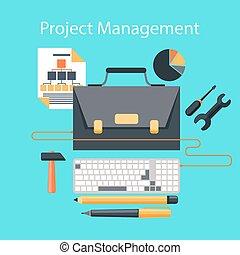 プロジェクト管理, デザイン, 概念, 平ら