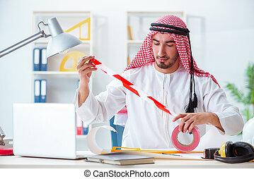 プロジェクト, アラビア人, エンジニア, 仕事, 新しい
