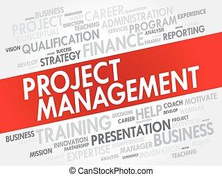 プロジェクト, コラージュ, 管理, 単語, 雲