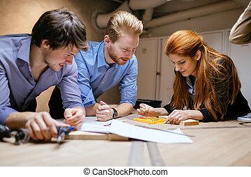 プロジェクト, デザイナー, グループ, 仕事