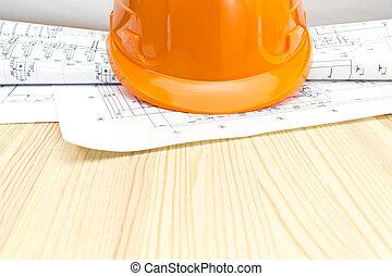 プロジェクト, ヘルメット, 安全, 図画, 積み重ね