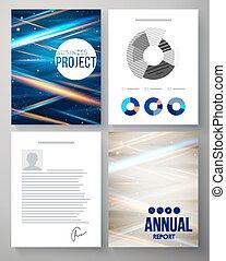 プロジェクト, レポート, ベクトル, テンプレート, ビジネス
