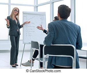 プロジェクト, 作り, 女性実業家, 新しい, プレゼンテーション