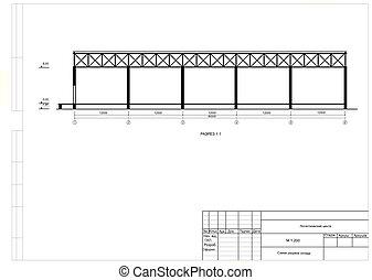 プロジェクト, 倉庫, フレーム, 案, 建設的