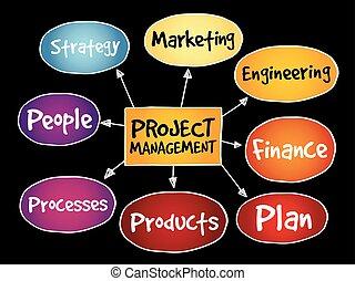 プロジェクト, 地図, 管理, 心