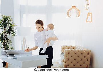 プロジェクト, 女性実業家, 注意深い, 仕事