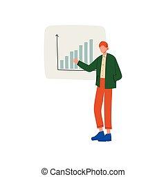 プロジェクト, 寄付, グラフ, とんぼ返り, イラスト, チャート, ベクトル, 提出すること, ビジネスマン, プレゼンテーション, 人