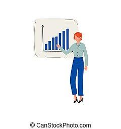 プロジェクト, 寄付, 女性実業家, チャート, イラスト, とんぼ返り, ベクトル, 提出すること, グラフ提示, 人