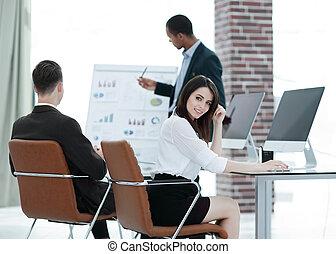 プロジェクト, 新しい, 事業を論じる, チーム