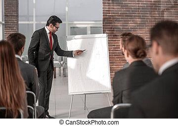 プロジェクト, 新しい, 手掛かり, プレゼンテーション, ビジネスマン