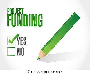 プロジェクト, 資金, 承認, 印, 概念