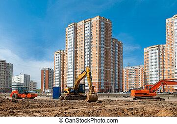 プロセス, の, 建物, a, 住宅地域