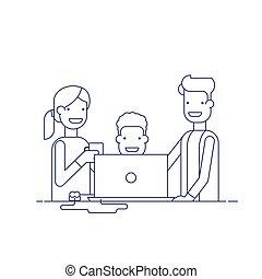 プロセス, コンピュータ, 飲むこと, solving., ビジネス, 囲まれた, スーツ, 女, 親, モデル, 腕時計, employees., 線, child., 人, coffee., 仕事, ベクトル, 薄くなりなさい, チーム, 問題, ∥あるいは∥