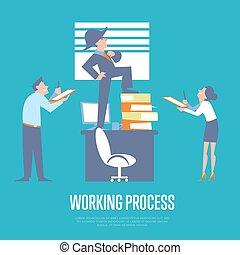 プロセス, ビジネスマン, 旗, 仕事