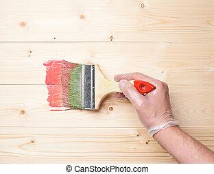プロセス, ペンキ, 始める, 板, 木製である