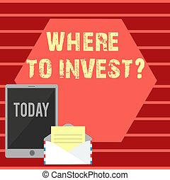 プロセス, 写真, 行動, ペーパー, ブランク, タブレット, 執筆, ノート色, 請求, お金, 提示, もっと, ビジネス, スクリーン, question., 封筒, space., について, 投資しなさい, showcasing, 作成, どこ(で・に)か, ∥あるいは∥