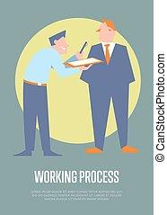 プロセス, 旗, ビジネス, 働いている人達