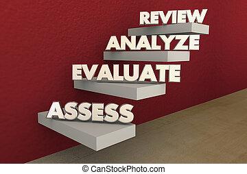 プロセス, 評価しなさい, レビュー, イラスト, 算定しなさい, ステップ, 分析しなさい, 階段, 3d