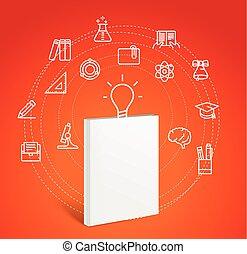 プロセス, concept., 世界的である, イラスト, ベクトル, 教育