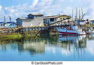 プロセッサ, 漁船, westport, 灰色, 港, ワシントン州