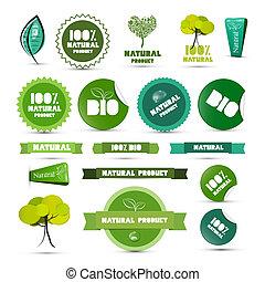 プロダクト, セット, 自然, タグ, ラベル, -, 緑, ステッカー