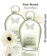 プロダクト, デザイン, 香水, 包装, 現実的, ベクトル, びん, fragrance., 花, 女性