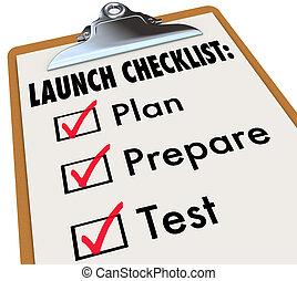 プロダクト, ビジネス, 準備しなさい, 発射, チェックリスト, 計画, テスト, 新しい